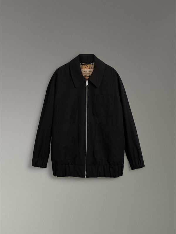 Tropical Gabardine Harrington Jacket in Black - Women | Burberry United Kingdom - cell image 3