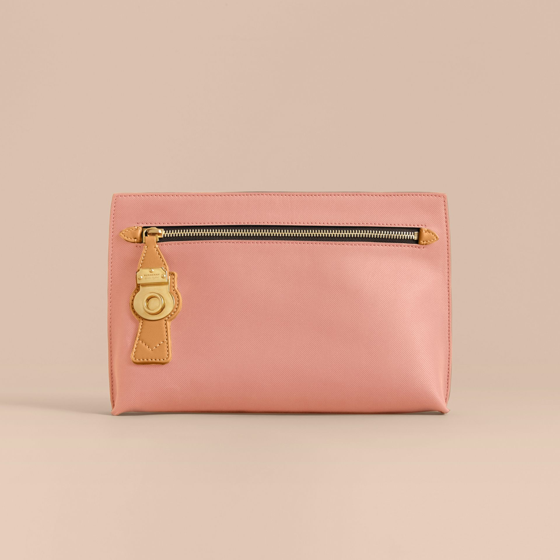Two-tone Trench Leather Wristlet Pouch Ash Rose/pale Clementine - gallery image 6