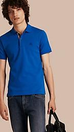 Check Placket Cotton Piqué Polo Shirt