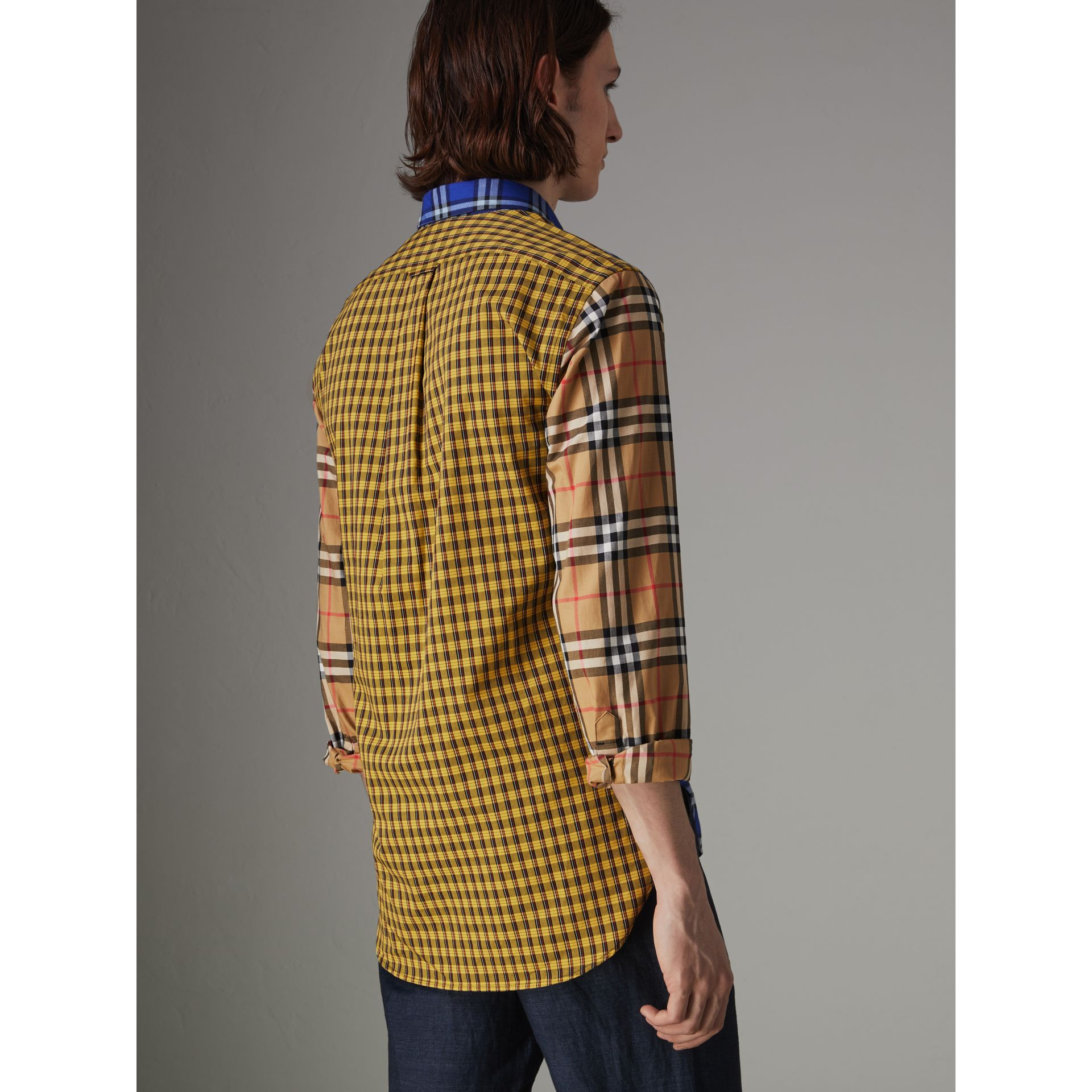 Contrast Check Cotton Shirt in Bright Lapis - Men | Burberry United Kingdom - gallery image 2