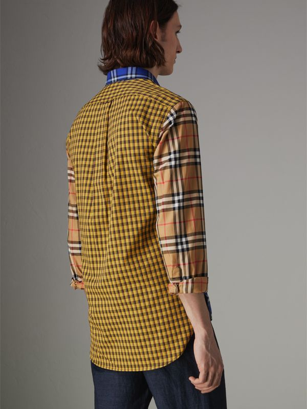 Contrast Check Cotton Shirt in Bright Lapis - Men | Burberry - cell image 2