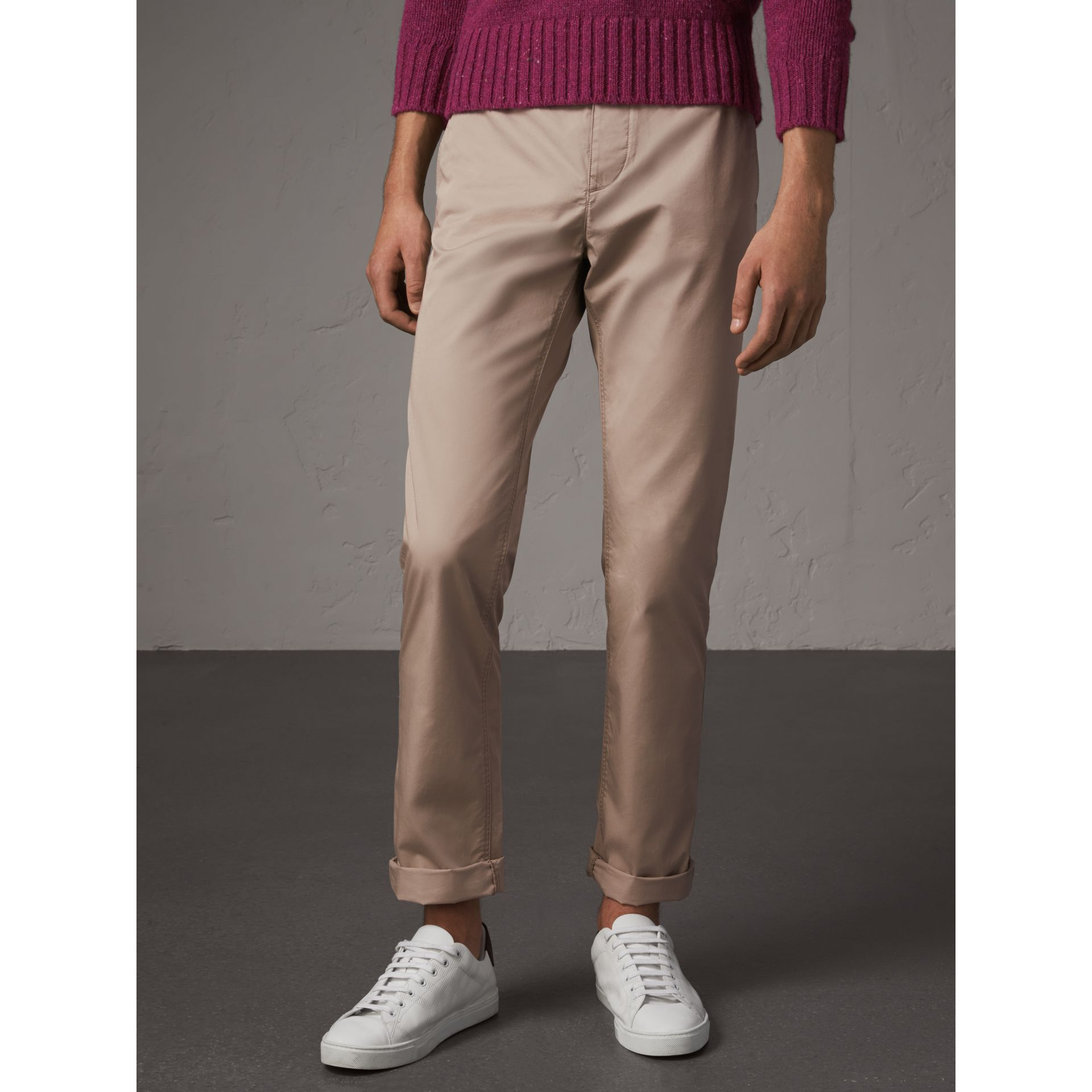Straight Fit Cotton Chinos in Taupe - Men | Burberry - gallery image 4