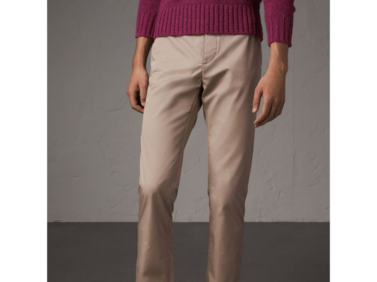 Straight Fit Cotton Chinos in Taupe - Men | Burberry Canada - cell image 4