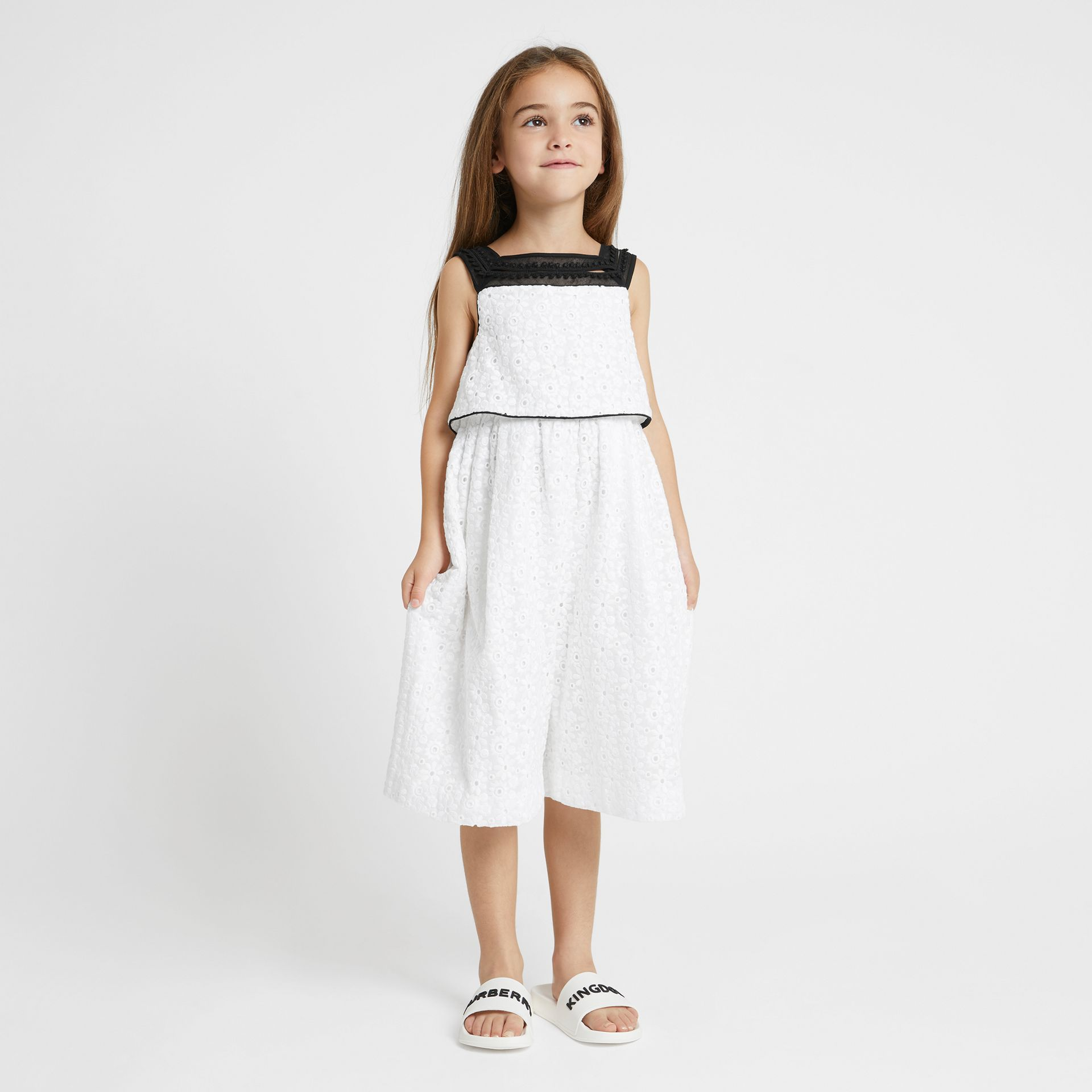 Lace Trim Embroidered Cotton Sailor Jumpsuit in White - Children | Burberry - gallery image 2