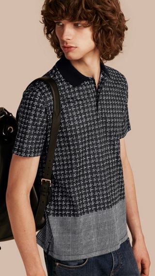 Block Print Cotton Polo Shirt