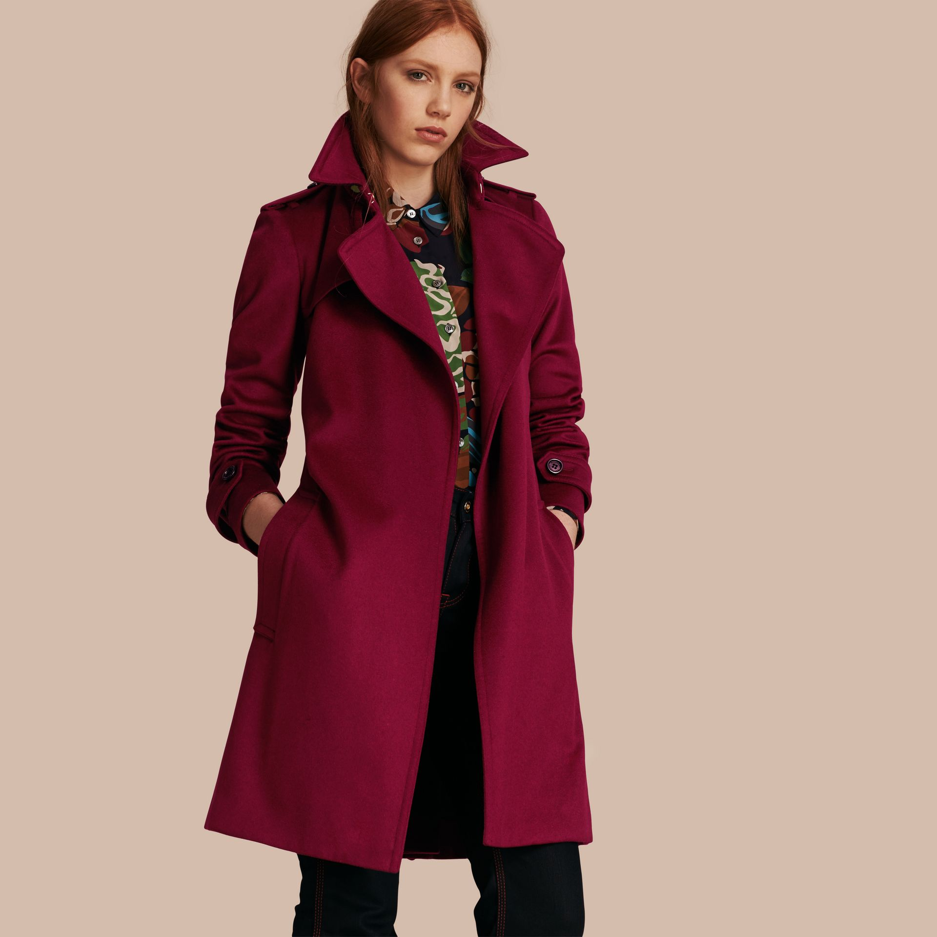Cherry pink Cashmere Wrap Trench Coat Cherry Pink - gallery image 1
