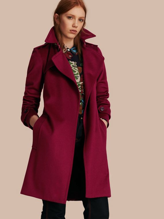 Cashmere Wrap Trench Coat Cherry Pink