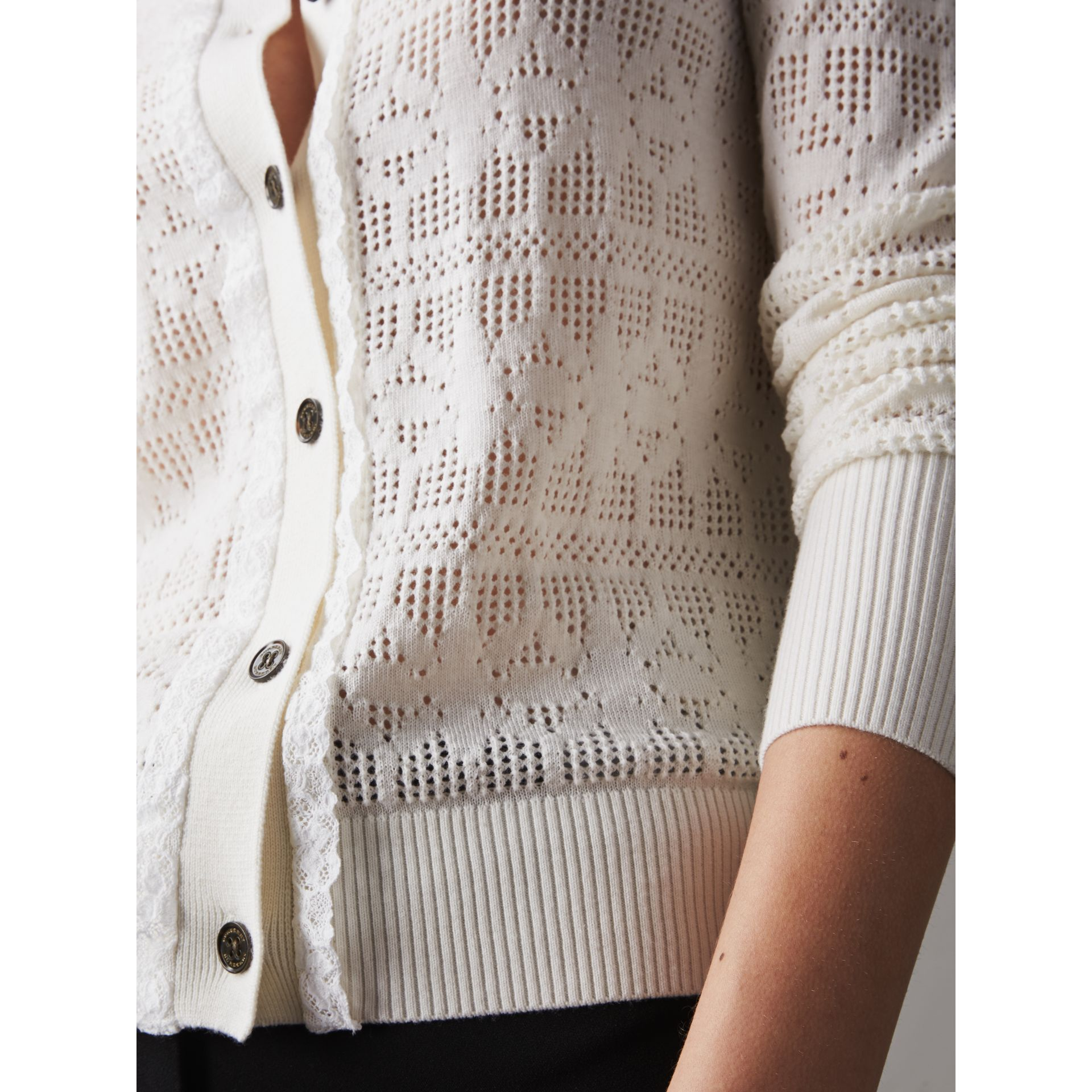 Lace Trim Knitted Wool and Cashmere Cardigan in Natural White - Women | Burberry - gallery image 2