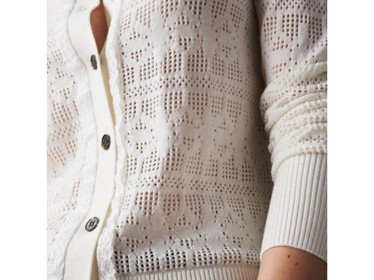 Lace Trim Knitted Wool and Cashmere Cardigan in Natural White - Women | Burberry - cell image 1