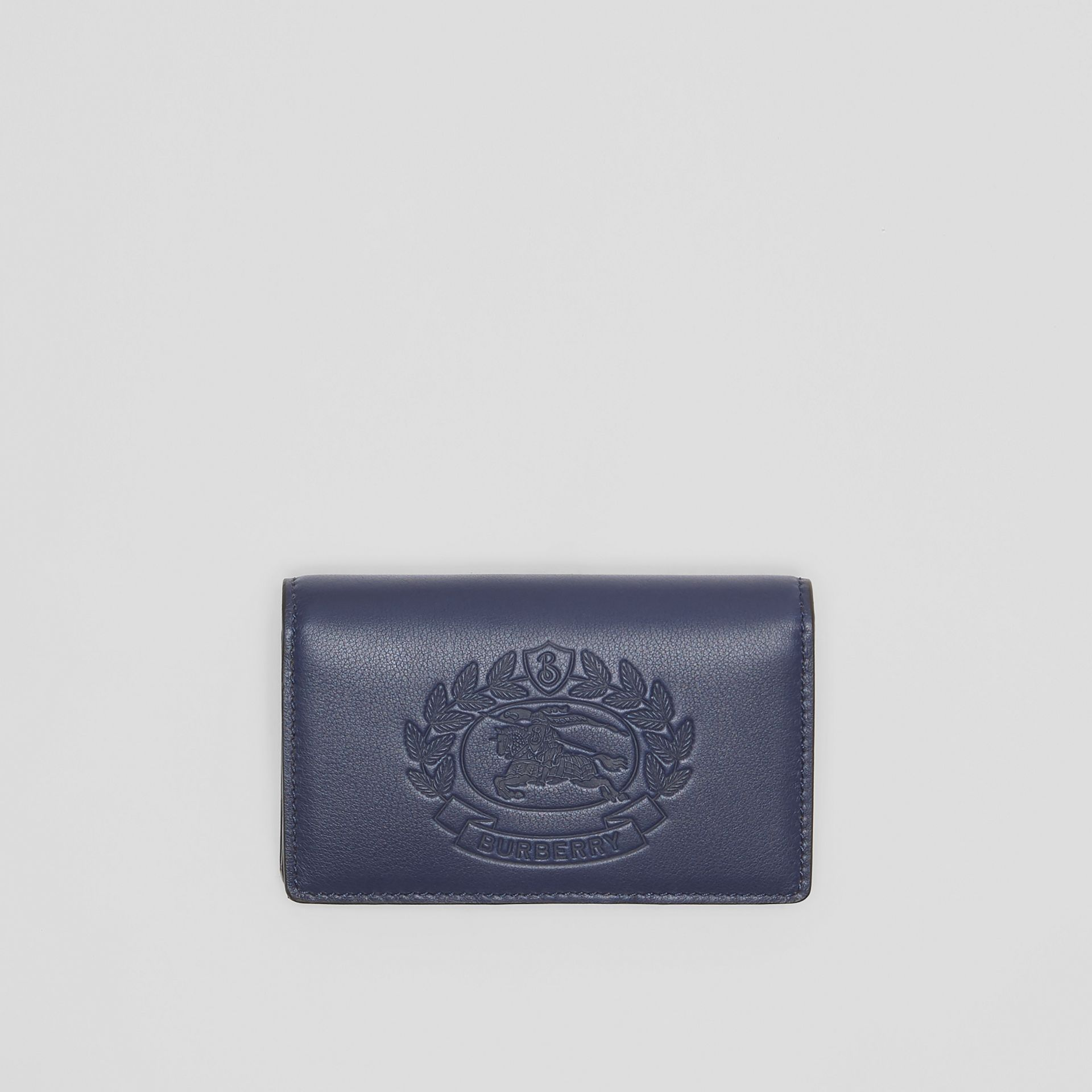 Small Embossed Crest Two-tone Leather Wallet in Regency Blue - Women | Burberry - gallery image 0