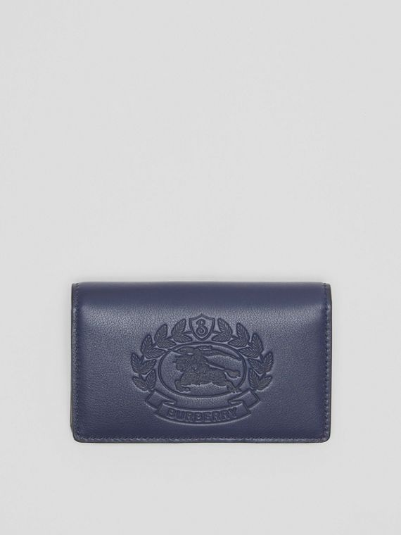 Small Embossed Crest Two-tone Leather Wallet in Regency Blue