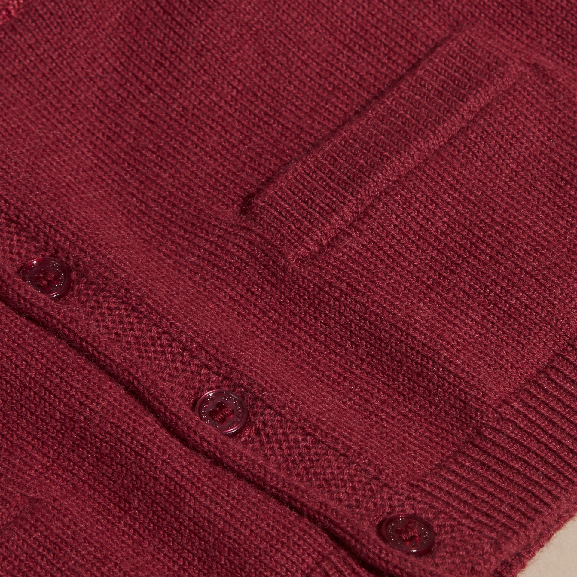 Dark plum pink V-neck Cashmere Cotton Cardigan Dark Plum Pink - gallery image 2