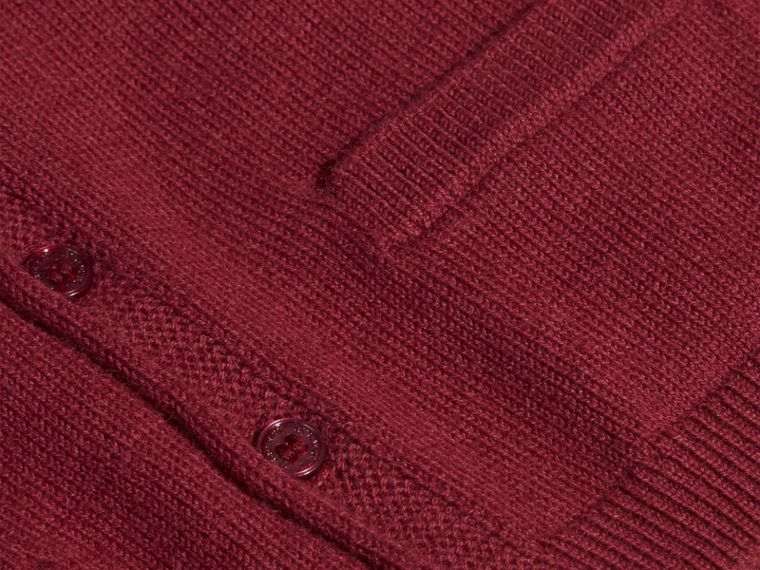 Dark plum pink V-neck Cashmere Cotton Cardigan Dark Plum Pink - cell image 1