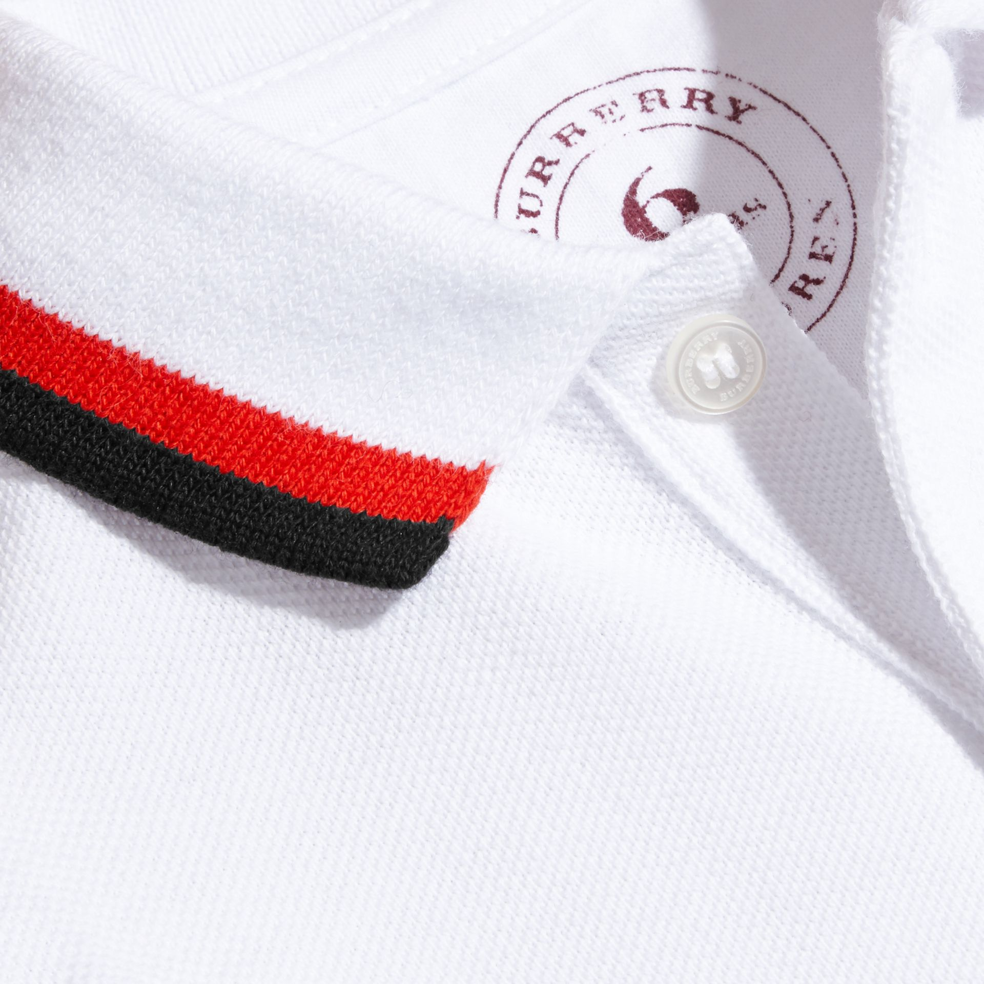 Multi Stripe Cotton Piqué Polo Shirt Claret - gallery image 2