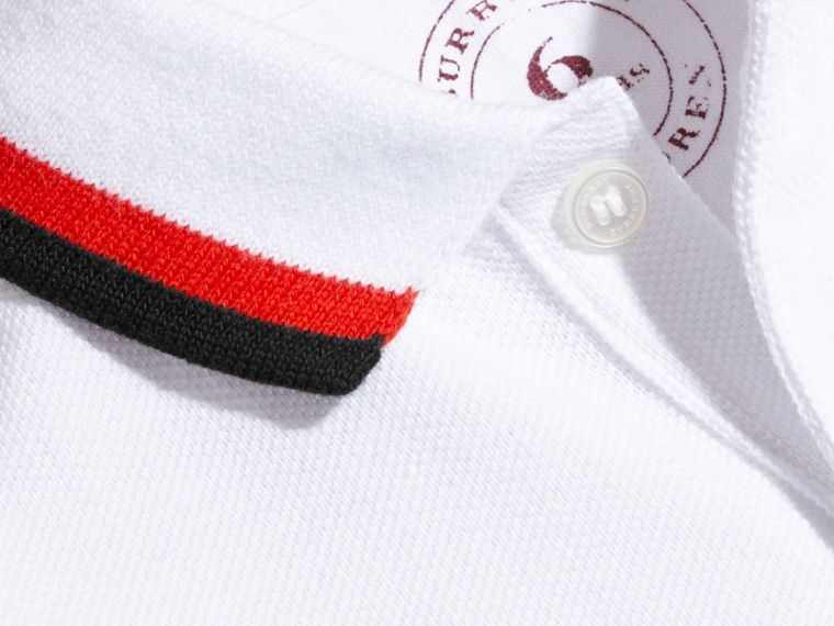 Multi Stripe Cotton Piqué Polo Shirt Claret - cell image 1