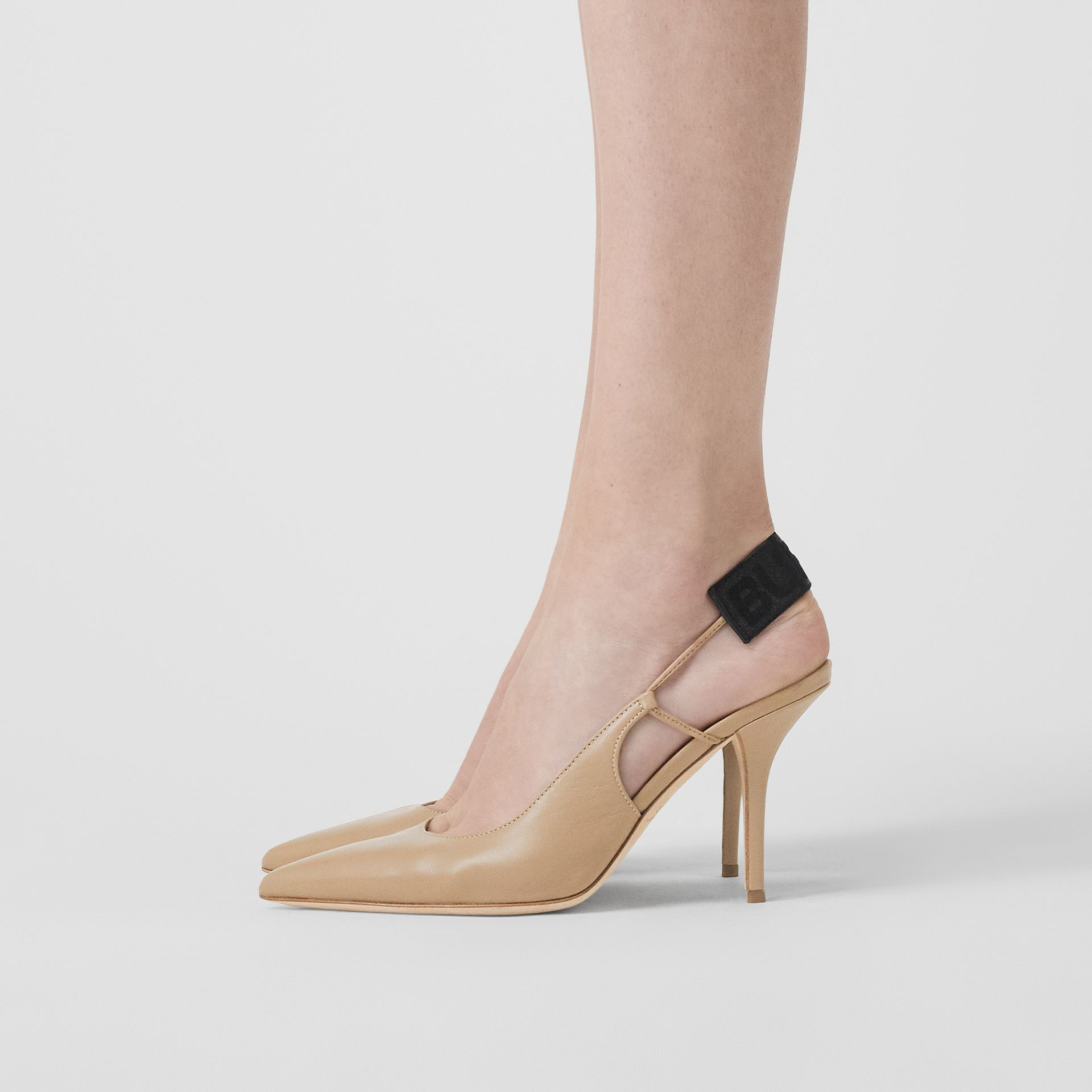 Logo Detail Lambskin Slingback Pumps in Dark Honey - Women | Burberry United Kingdom - gallery image 2