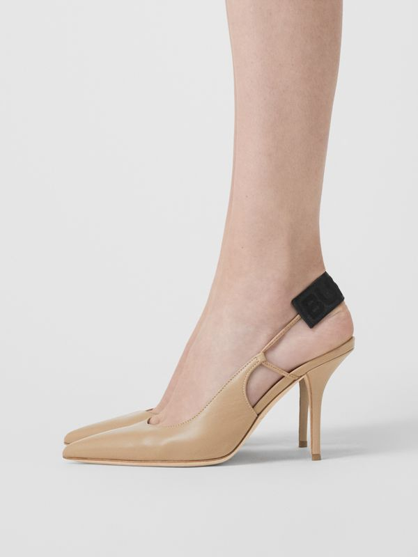 Logo Detail Lambskin Slingback Pumps in Dark Honey - Women | Burberry United Kingdom - cell image 2