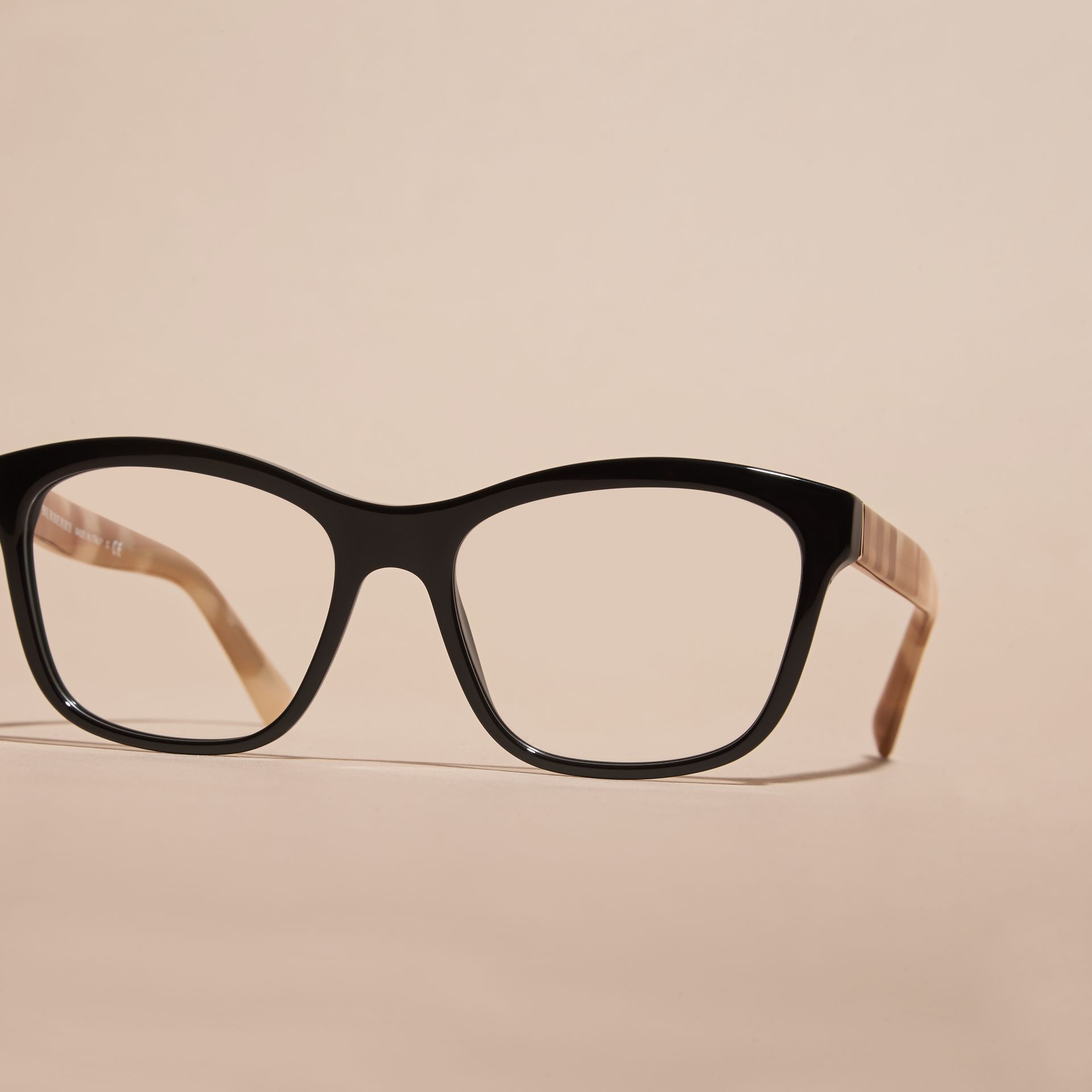 Black Check Detail Square Optical Frames Black - gallery image 4
