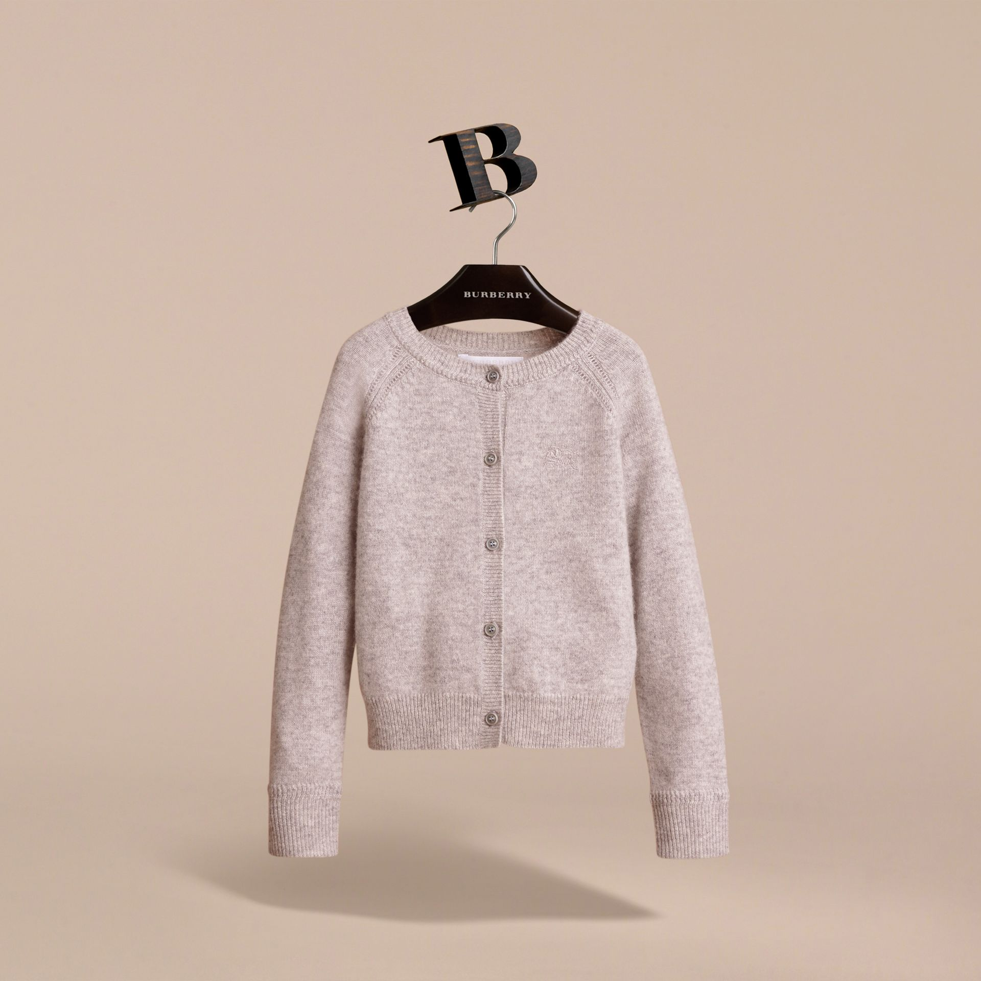 Check Detail Cashmere Cardigan in Light Grey Melange - Girl | Burberry - gallery image 3
