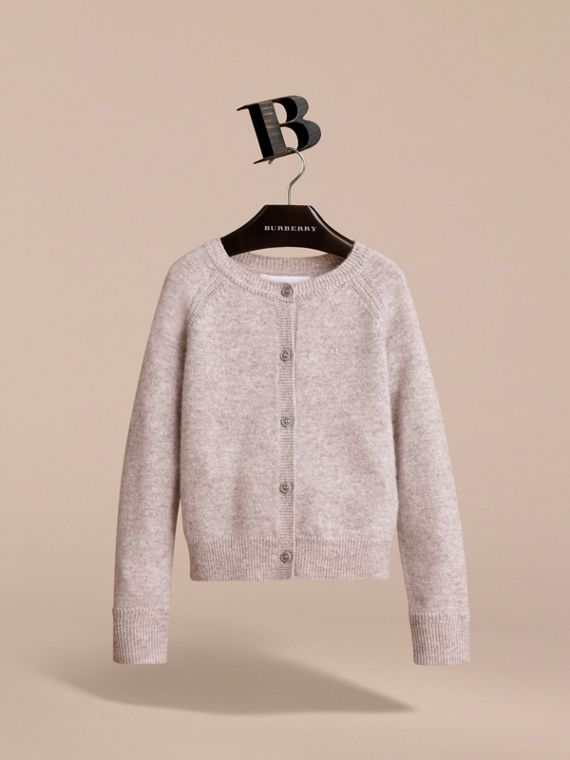 Check Detail Cashmere Cardigan in Light Grey Melange - Girl | Burberry - cell image 2