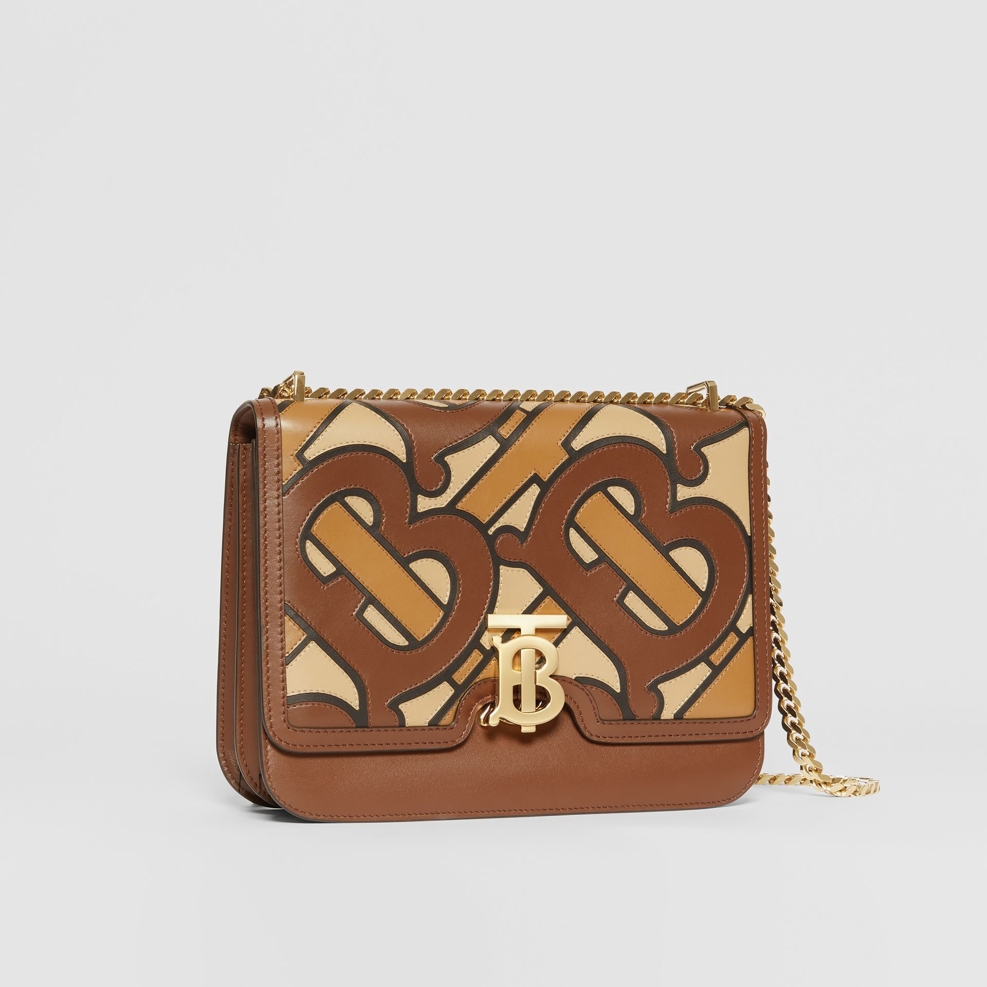 Medium Monogram Appliqué Leather TB Bag in Brown - Women | Burberry - gallery image 6
