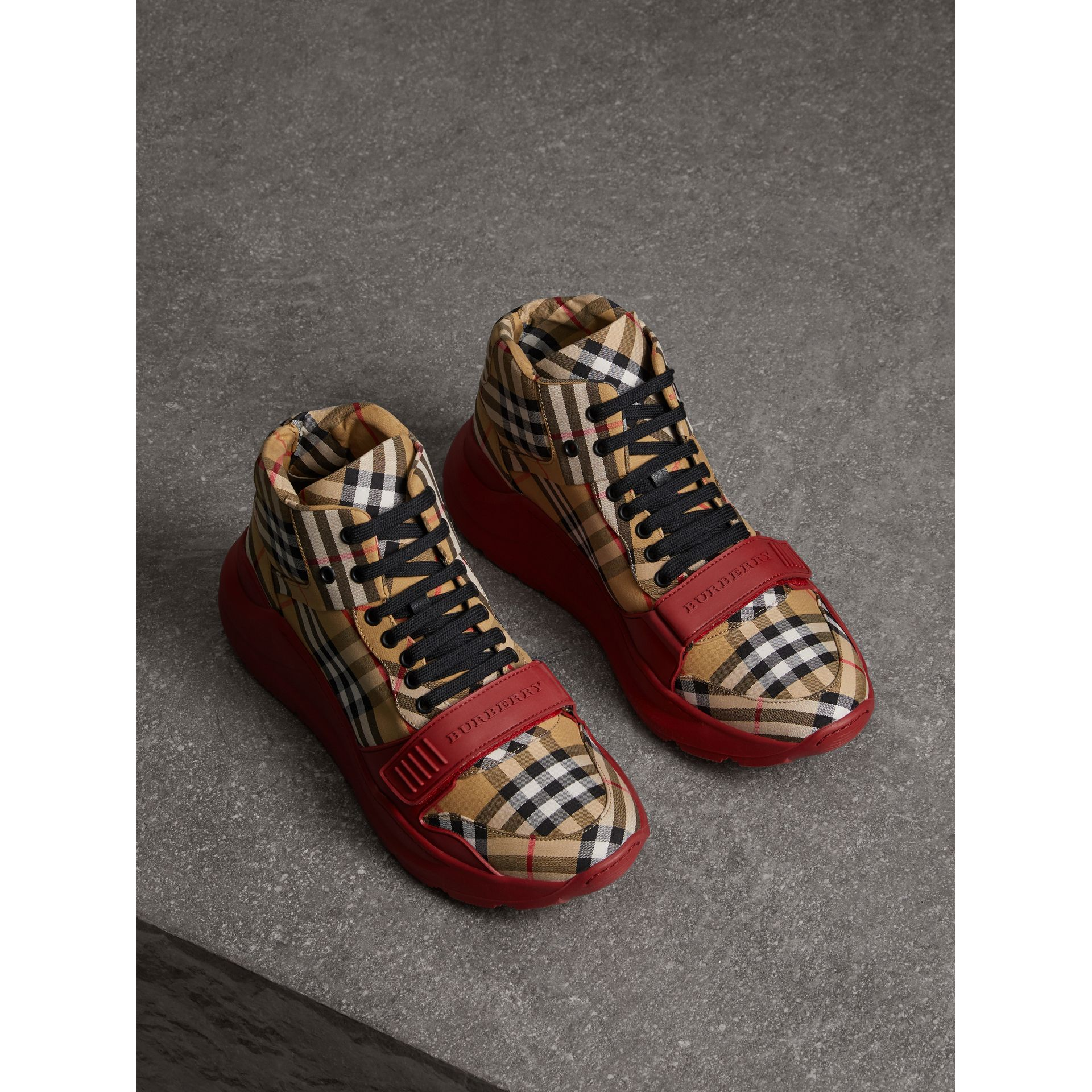 Vintage Check High-top Sneakers in Antique Yellow/military Red | Burberry Australia - gallery image 4