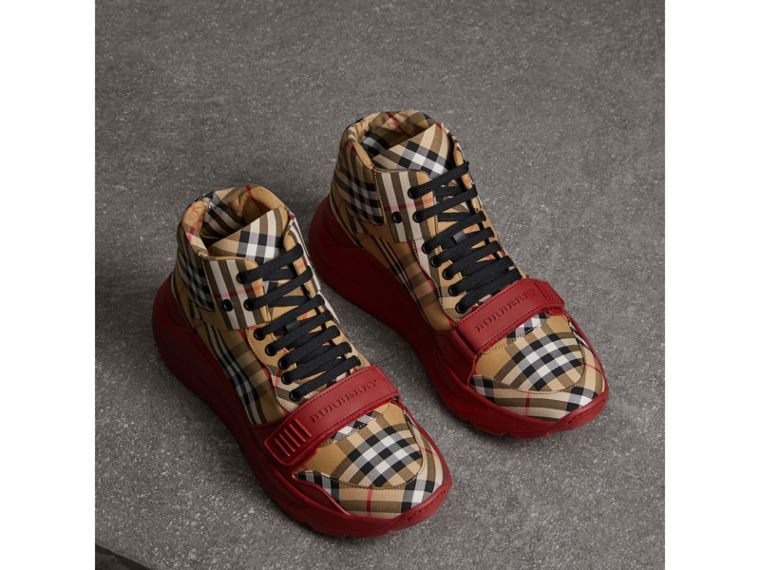 Vintage Check High-top Sneakers in Antique Yellow/military Red | Burberry Australia - cell image 4