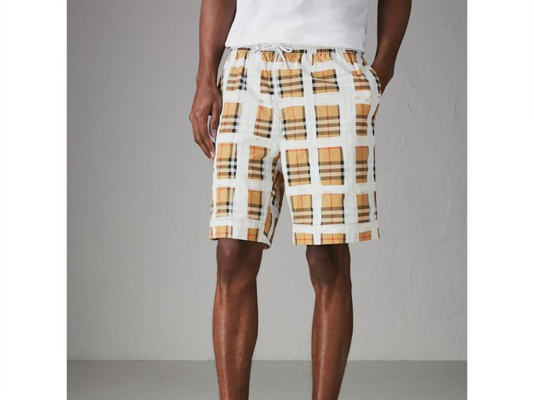 Painted Vintage Check Cotton Drawcord Shorts in Antique Yellow - Men | Burberry - cell image 4