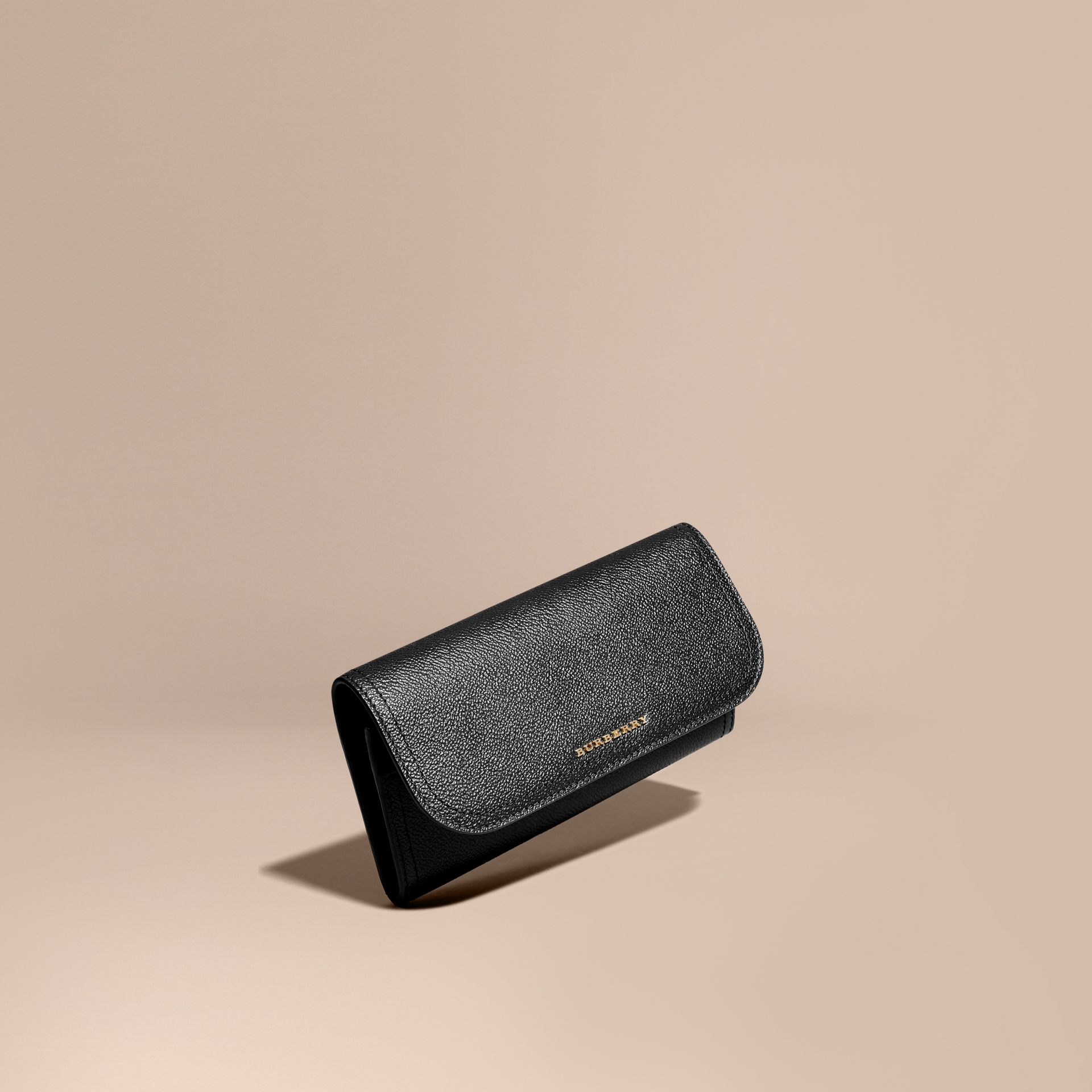 Grainy Leather Slim Continental Wallet in Black - Women | Burberry Australia - gallery image 1