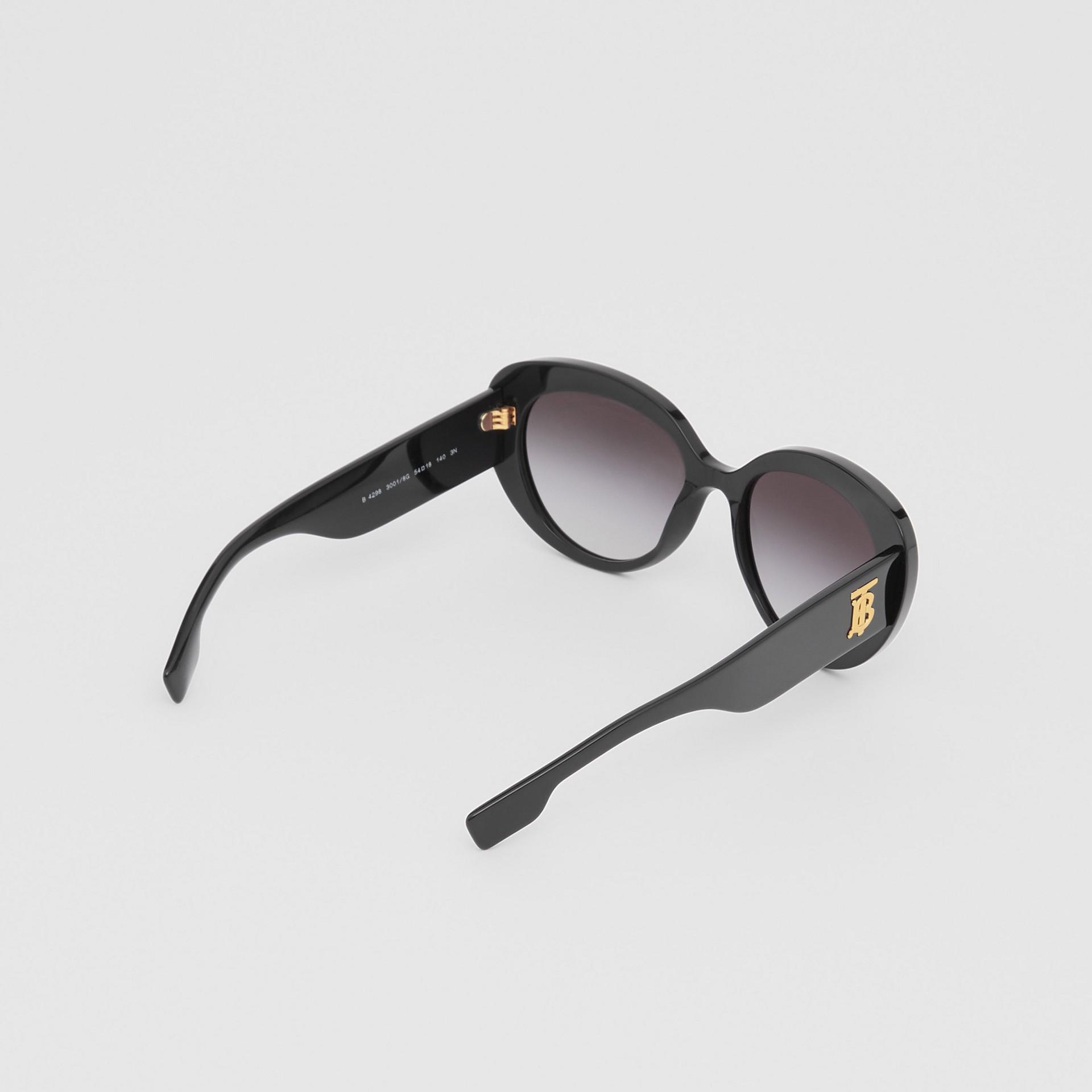 Monogram Motif Cat-eye Frame Sunglasses in Black - Women | Burberry United Kingdom - gallery image 4