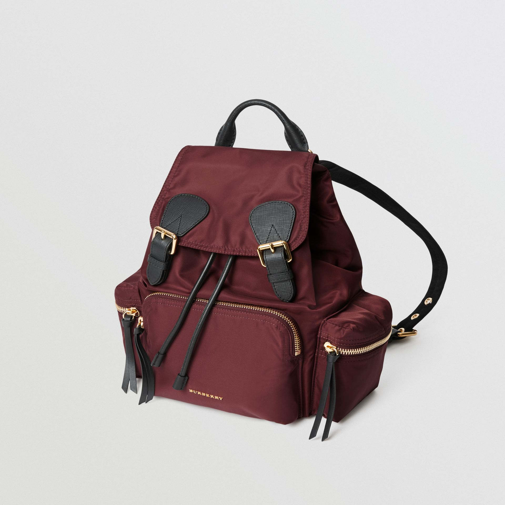 The Medium Rucksack in Technical Nylon and Leather in Burgundy Red - Women | Burberry - gallery image 3