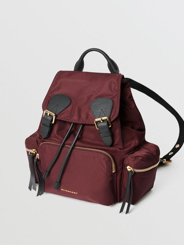 Sac The Rucksack moyen en nylon technique et cuir (Rouge Bourgogne) - Femme | Burberry Canada - cell image 3