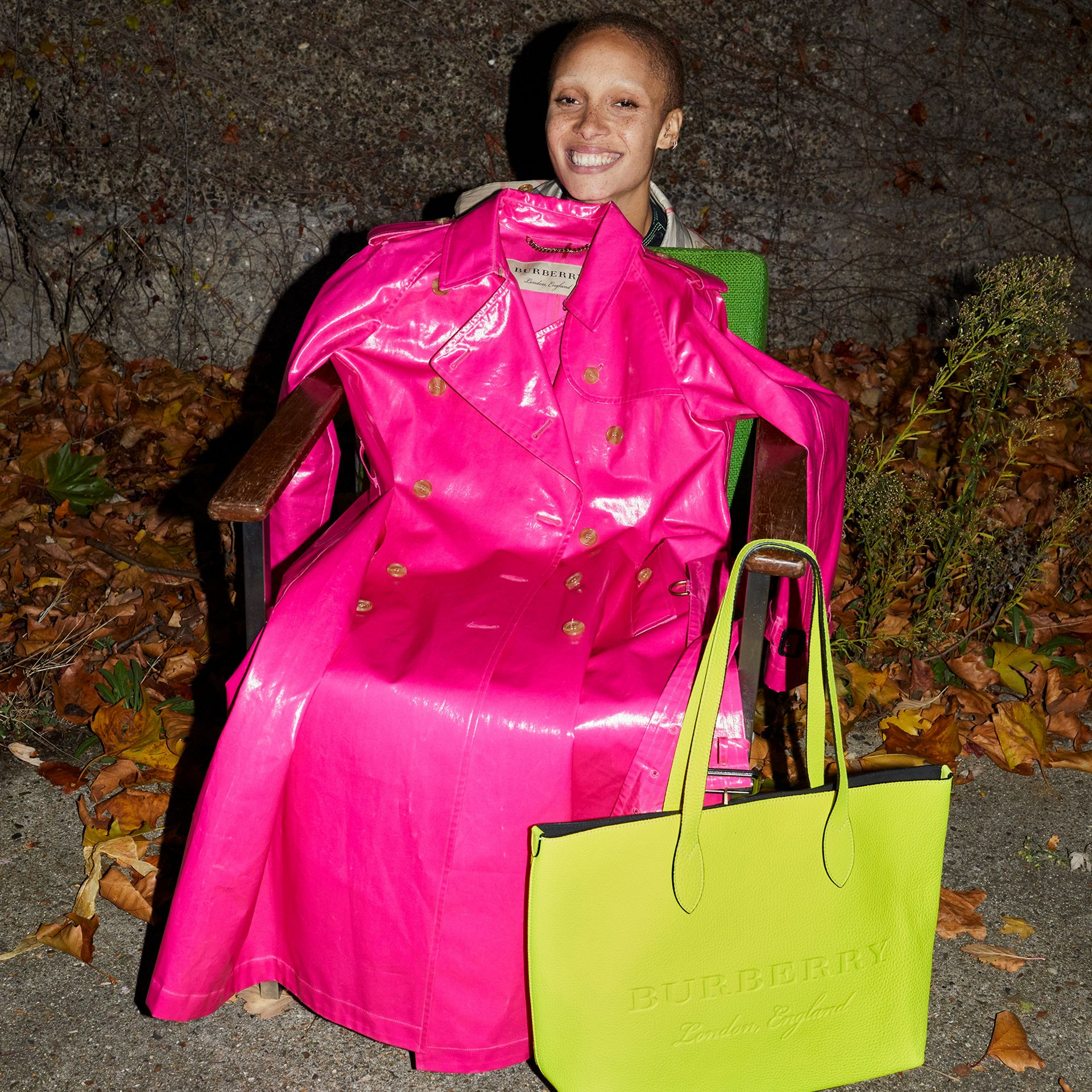 Embossed Leather Tote in Neon Yellow | Burberry - gallery image 8