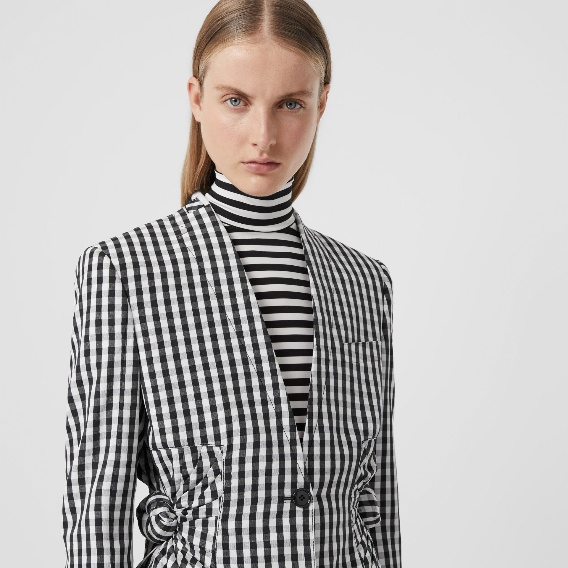 Gingham Technical Wool Blazer in Black - Women | Burberry - gallery image 6