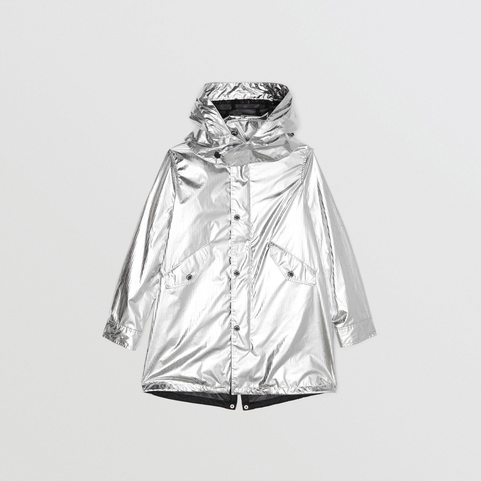Detachable Hood Metallic Nylon Parka in Silver | Burberry - gallery image 0