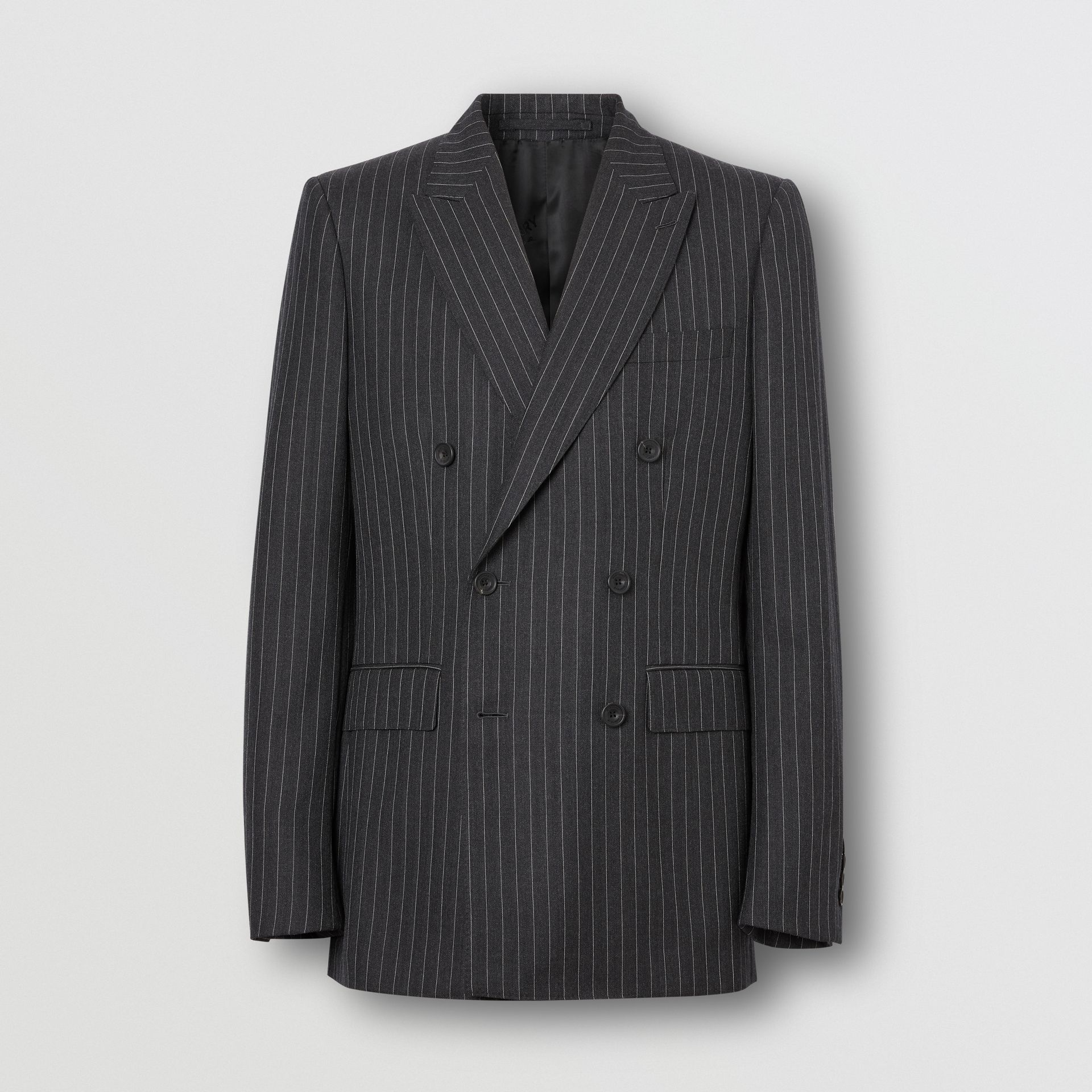 English Fit Pinstriped Wool Double-breasted Suit in Charcoal - Men | Burberry - gallery image 3