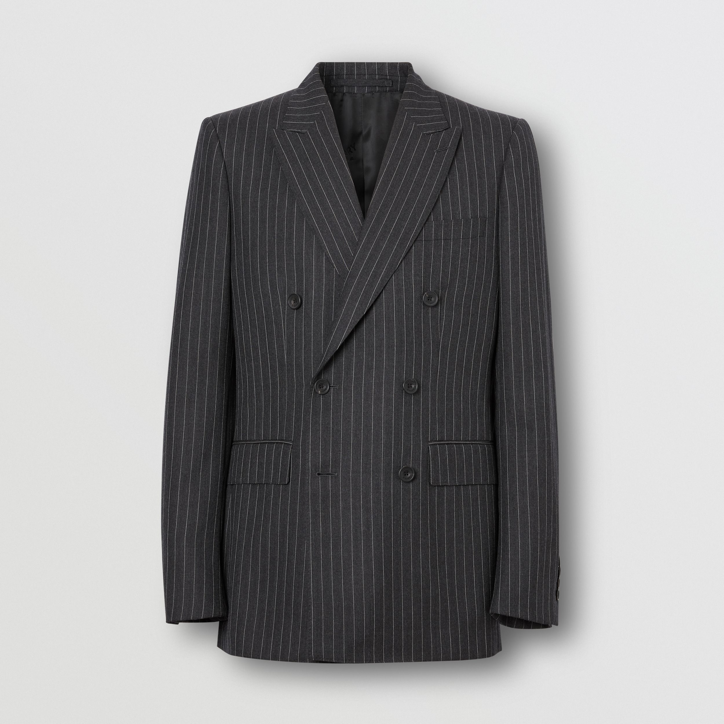English Fit Pinstriped Wool Double-breasted Suit in Charcoal - Men | Burberry - 4
