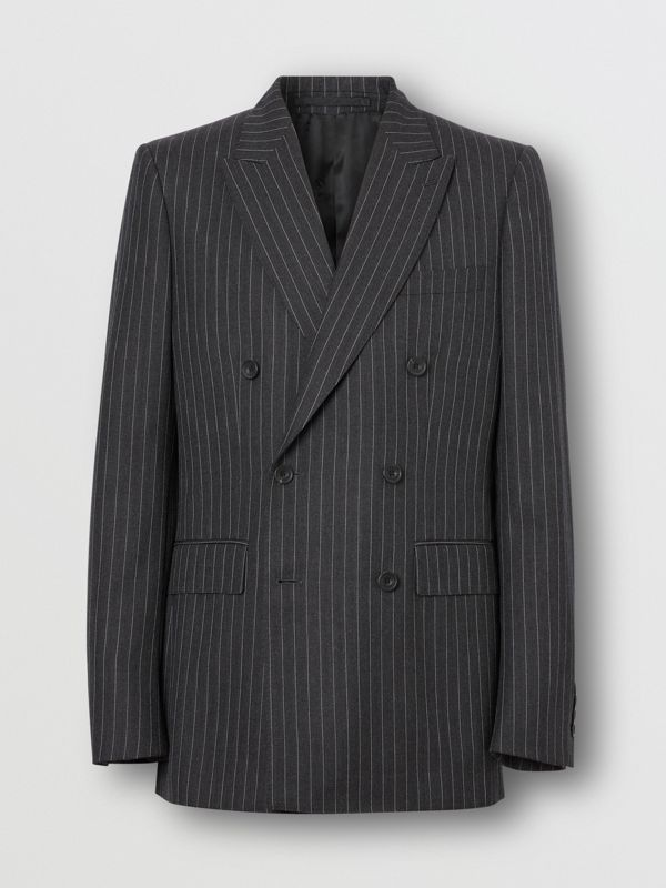English Fit Pinstriped Wool Double-breasted Suit in Charcoal - Men | Burberry - cell image 3