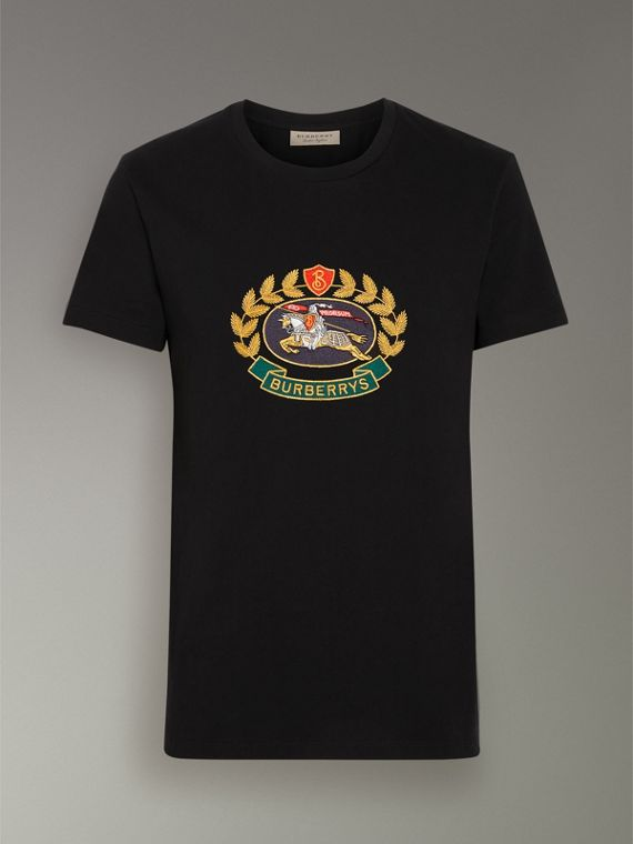 Embroidered Archive Logo Cotton T-shirt in Black - Men | Burberry - cell image 3