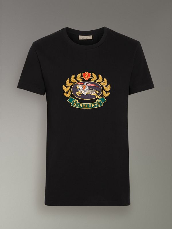 Embroidered Archive Logo Cotton T-shirt in Black - Men | Burberry Australia - cell image 3