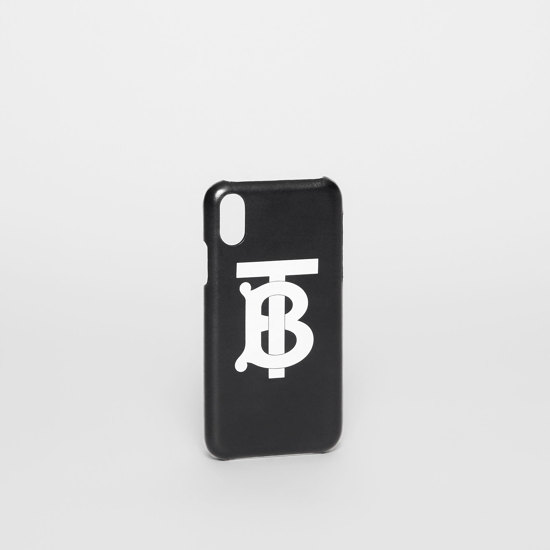 Monogram Motif Leather iPhone X/XS Case in Black - Men | Burberry United Kingdom - gallery image 2