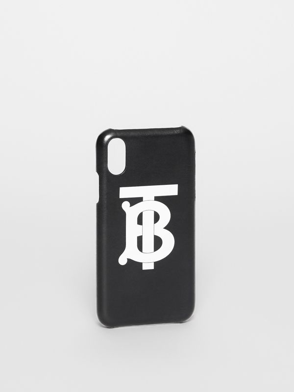 Monogram Motif Leather iPhone X/XS Case in Black - Men | Burberry United Kingdom - cell image 2