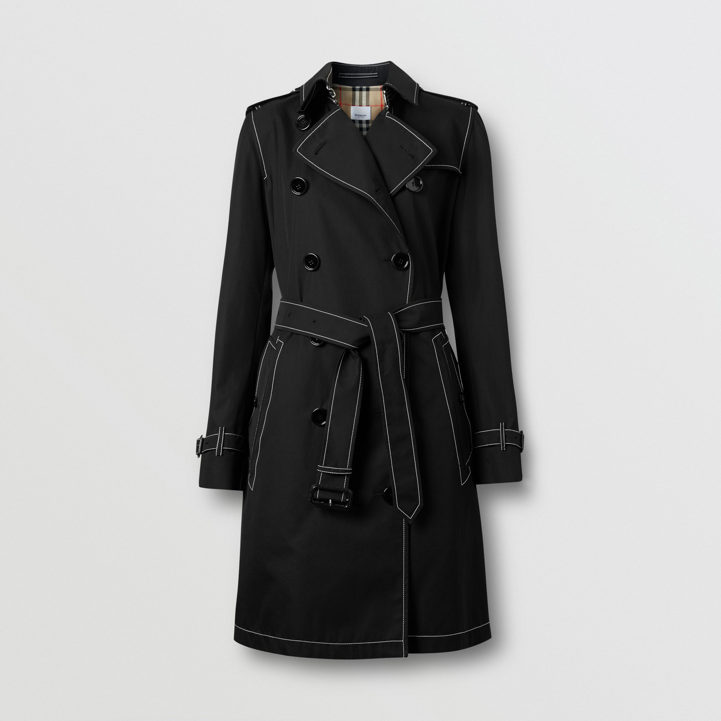 Topstitched Tropical Gabardine Trench Coat in Black - Women | Burberry - 4