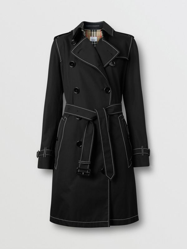 Topstitched Tropical Gabardine Trench Coat in Black - Women | Burberry Australia - cell image 3