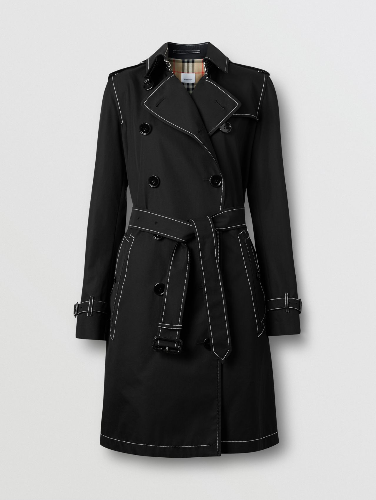 Topstitched Tropical Gabardine Trench Coat in Black