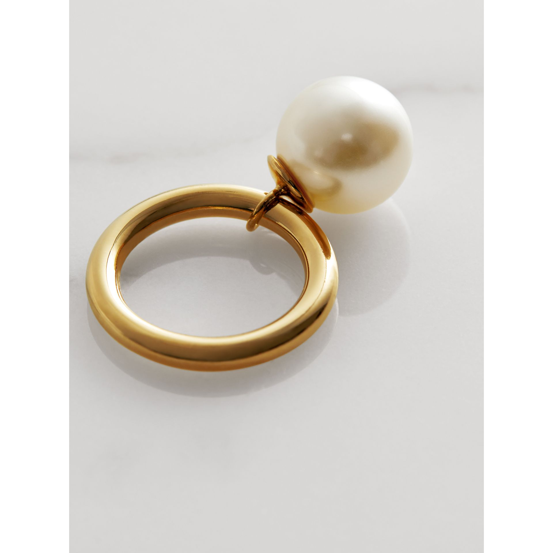 Faux Pearl Charm Gold-plated Ring in Light Gold/white - Women | Burberry - gallery image 3