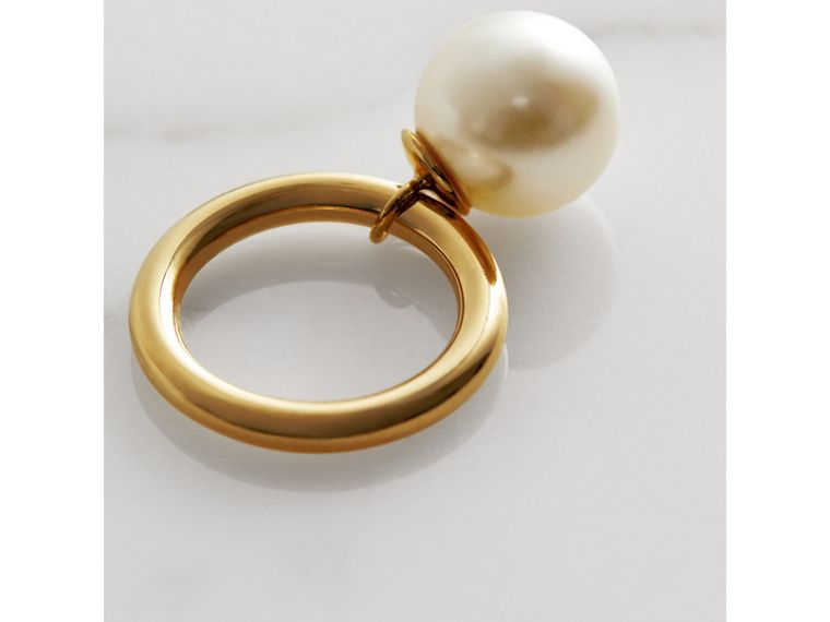 Faux Pearl Charm Gold-plated Ring in Light Gold/white - Women | Burberry Singapore - cell image 2