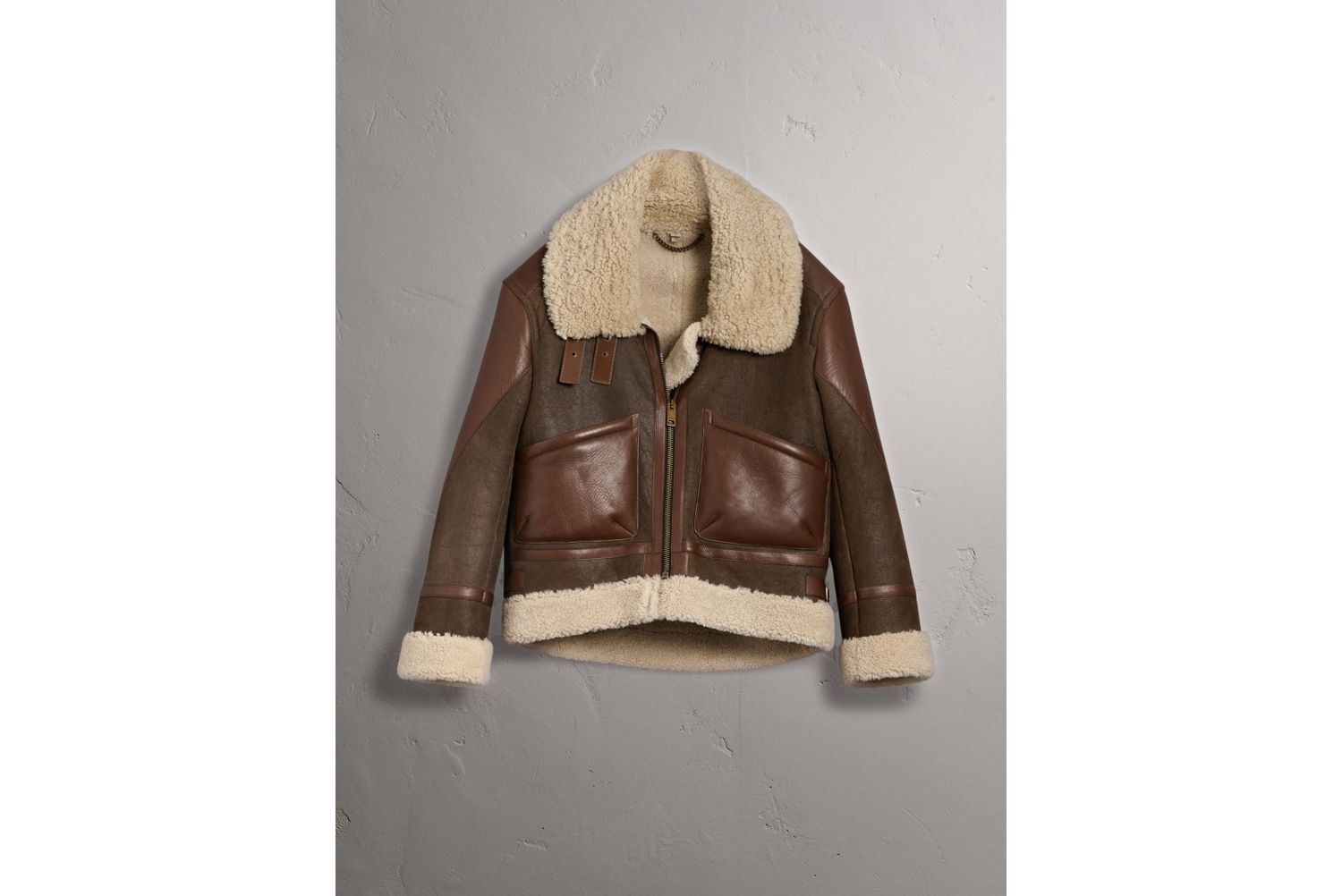 Lambskin Panelled Shearling Aviator Jacket in Dark Chocolate