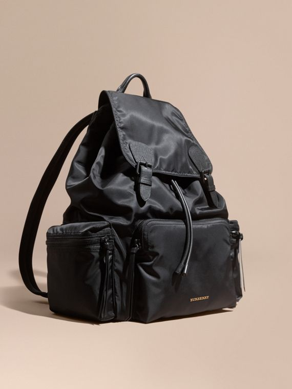 Zaino The Rucksack extra large in nylon tecnico e pelle Nero