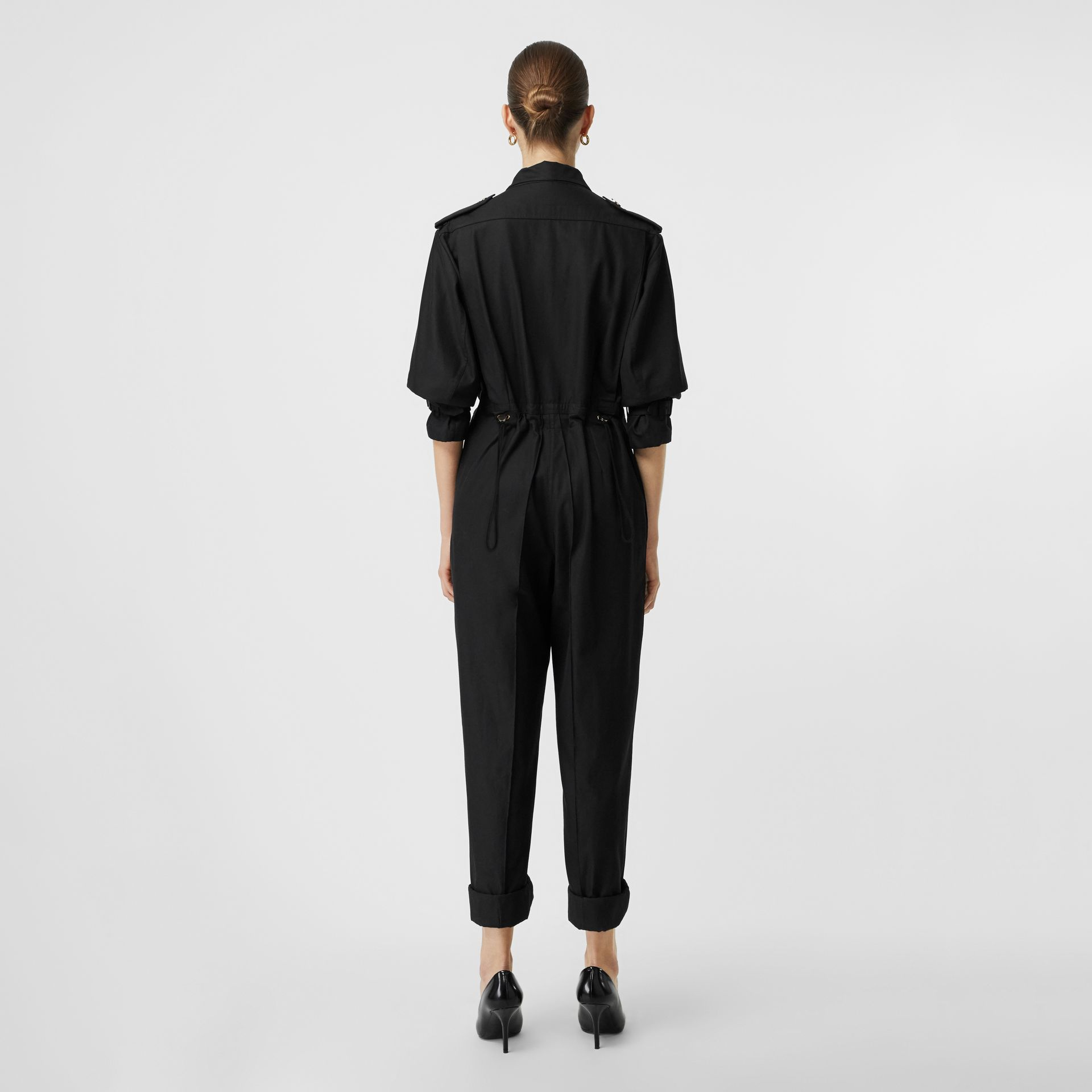 Cotton Gabardine Jumpsuit in Black - Women | Burberry United Kingdom - gallery image 2